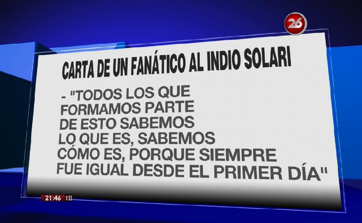Carta del fan del Indio - Canal 26