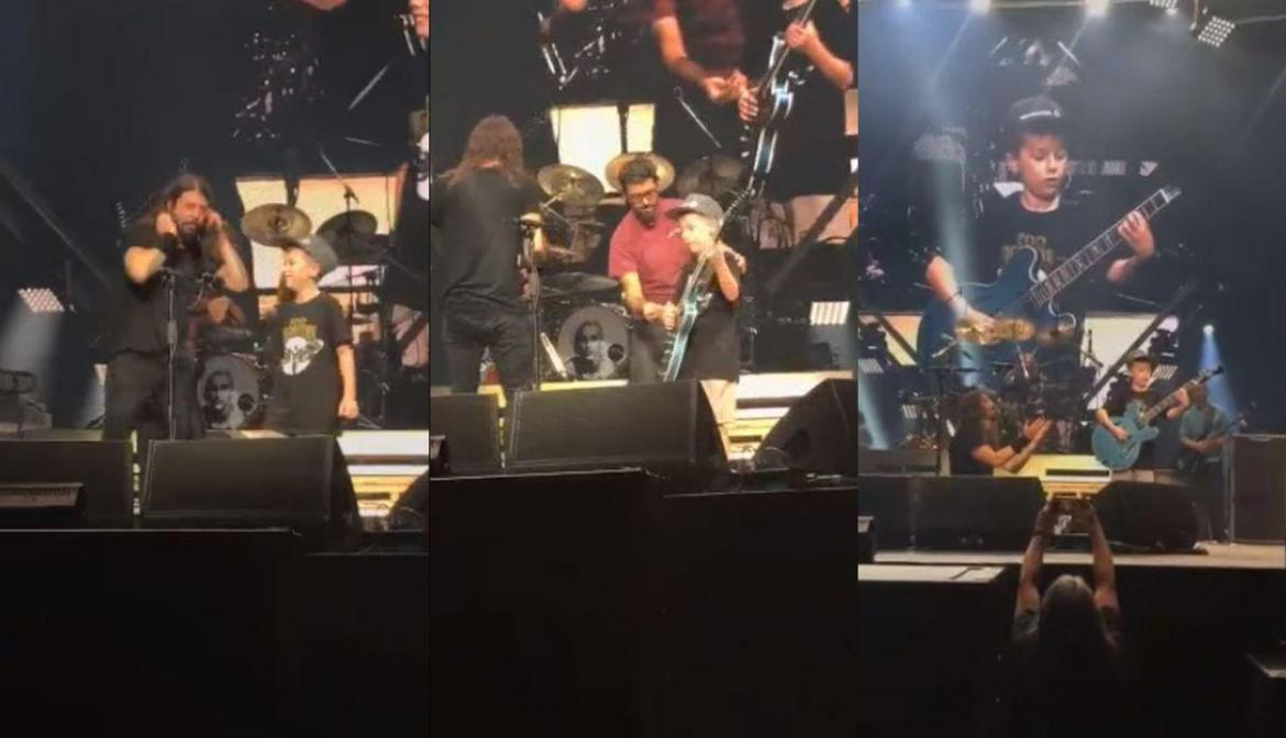 Niño sorprende a Foo Fighters
