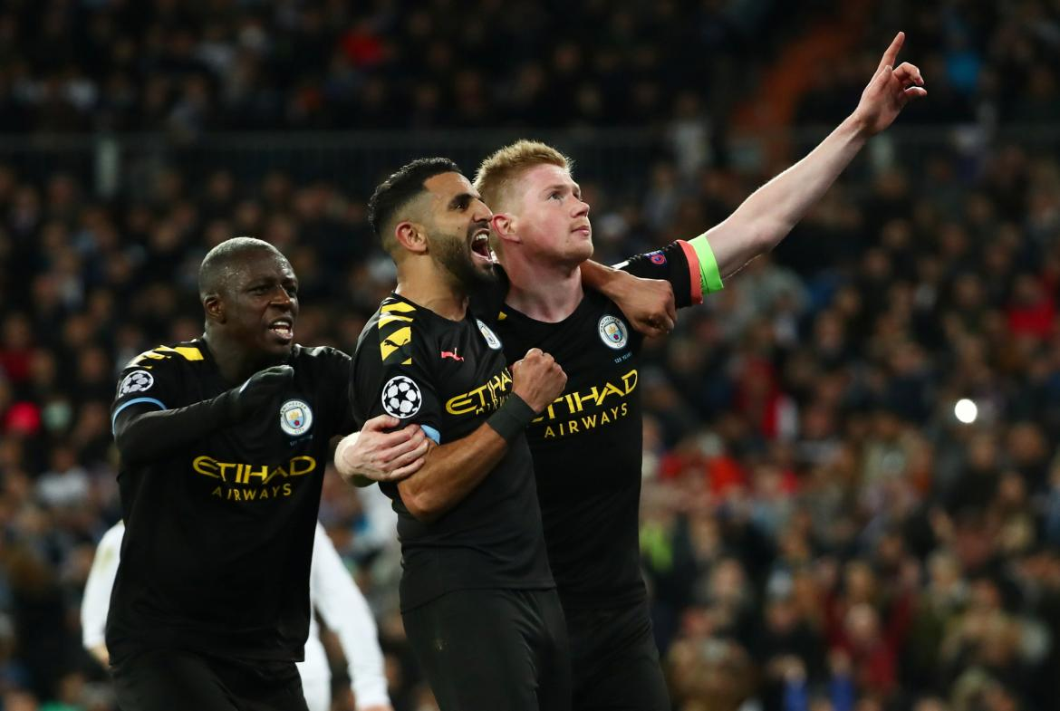 Festejo del Manchester City ante Real Madrid por Champions League, REUTERS