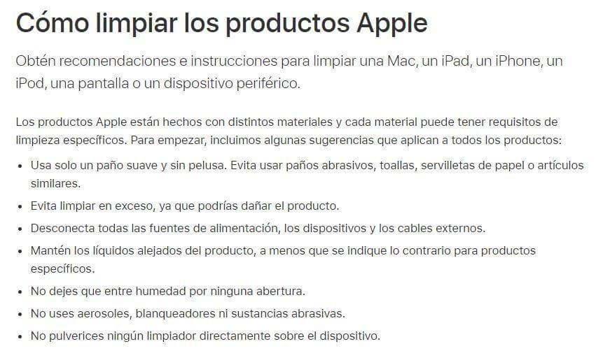 CORONAVIRUS PRODUCTOS APPLE