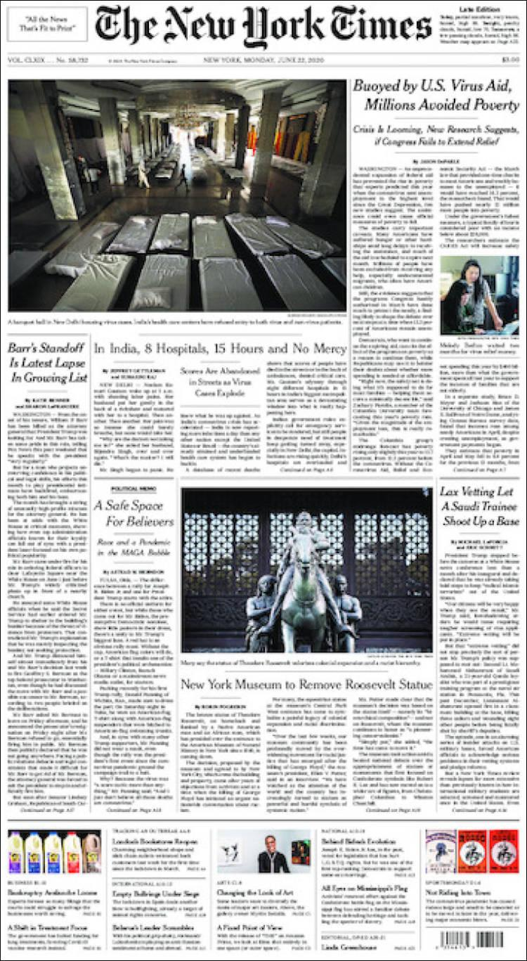 Tapas de diarios, The New York Times de EE.UU,, lunes 22 de junio de 2020