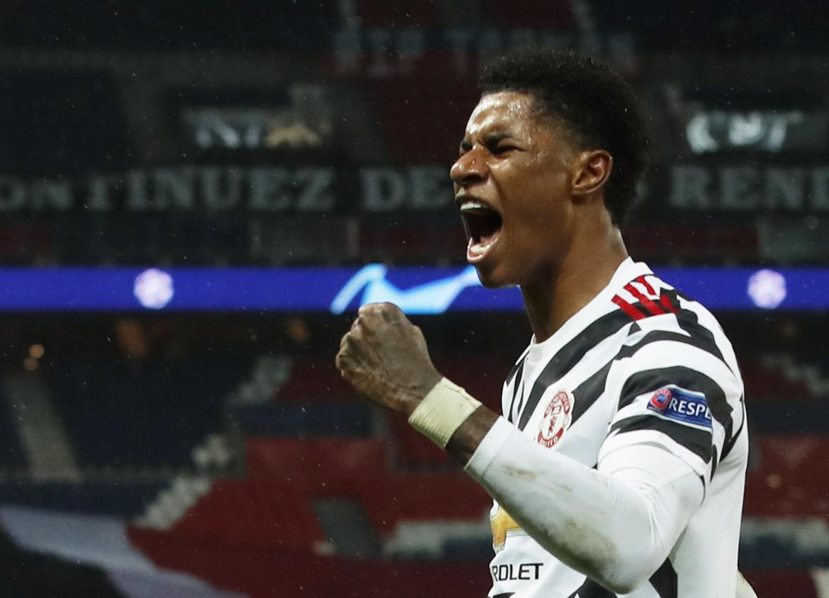 Champions League, PSG vs Manchester United, Marcus Rashford, fútbol internacional, REUTERS